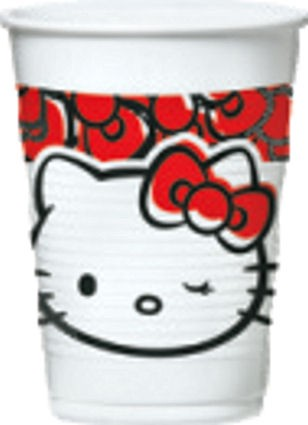 8 Party - Kunststoffbecher / Becher für 0,2-l-Inhalt, 'Hello Kitty Fun'