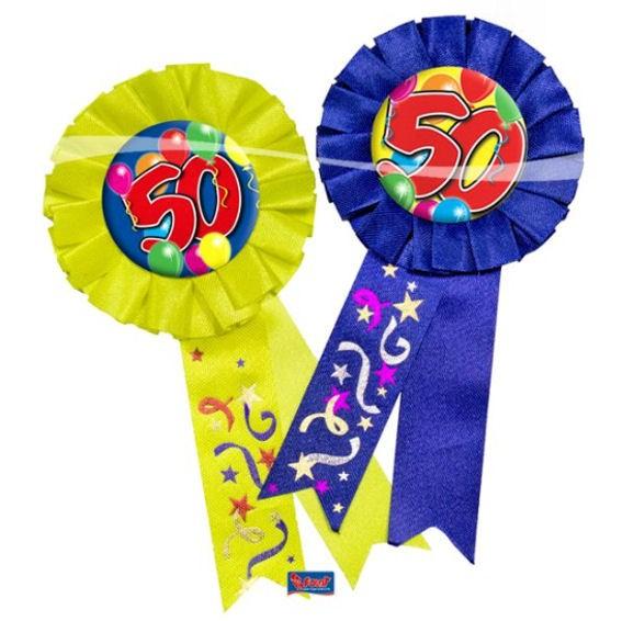 'Rosette 50 - Ballons' mit Nadel, ca. 15 cm lang, in blau oder gelb