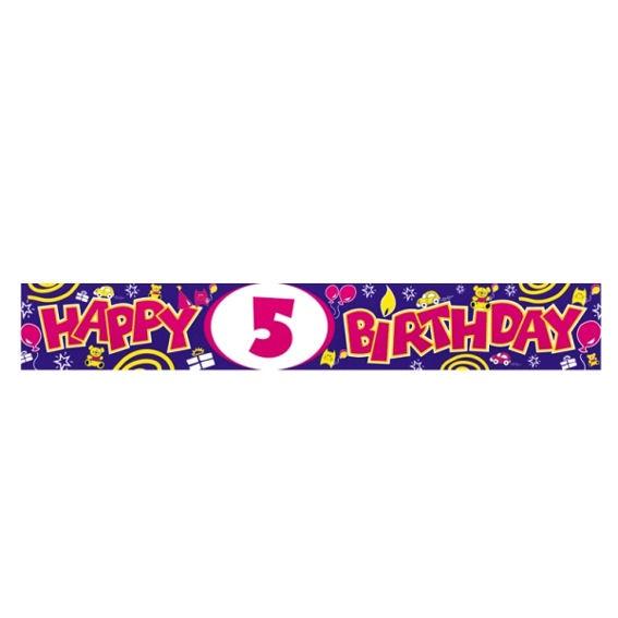 'Happy 5th Birthday'-Banner, ca. 270 cm lang