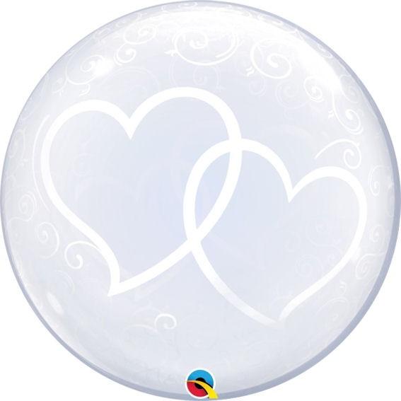 "Kunststoffballon 'Deco Bubble - Entwined Hearts' (G) ca. 24"" / 61 cm Ø"