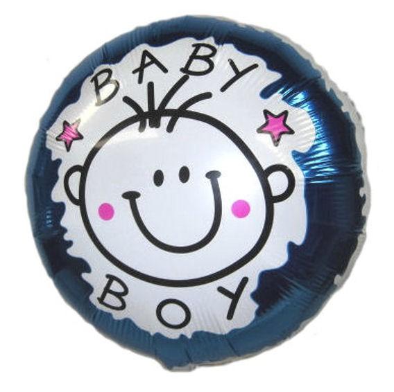 Folien-Rundballon (A) 'Baby Boy', blau, ca. 45 cm