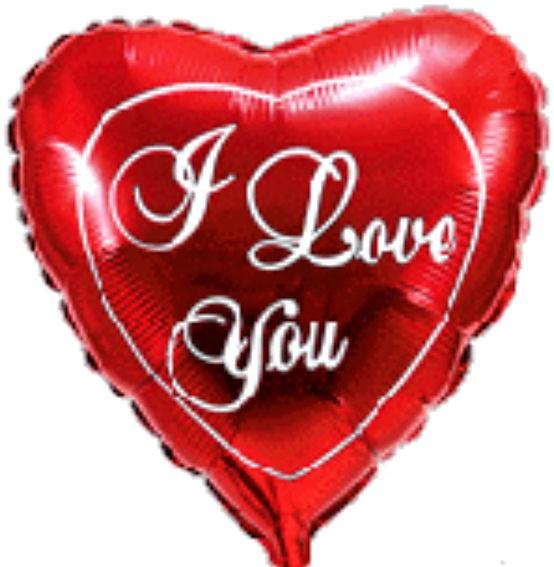 Folien-Herzballon (A) 'I Love You - Script', ca. 43 cm Ø