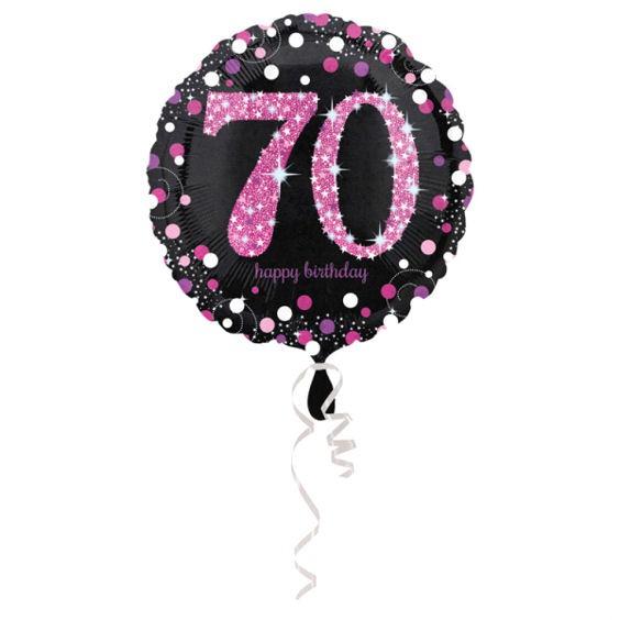 Folien-Rundballon (A) 'Pink Celebration - 70 Ha-Bday' ca. 45 cm