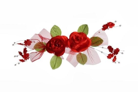 Rosengirlande, ca. 30 cm, rot-grün