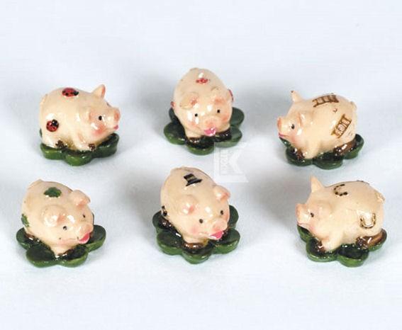 Poly-Streuartikel 'Schwein auf Klee', im 6erPack.