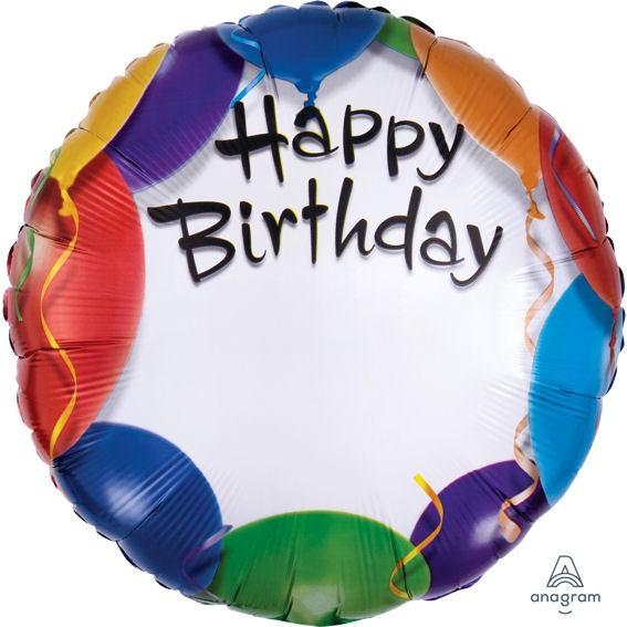 Folien-Rundballon 'Happy Birthday - Balloon Personalized', ca. 45 cm Ø, verschiedene Ausführungen