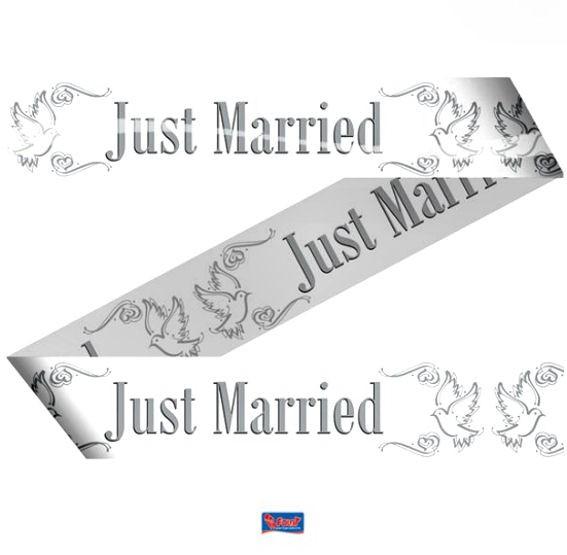 'Just Married' Absperrband, weiß/grau, ca. 7,5 cm x 15 mtr.
