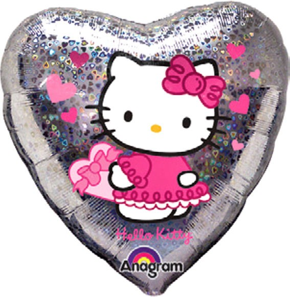 Folien-Herzballon 'Hello Kitty - Love Hearts', ca. 45 cm Ø