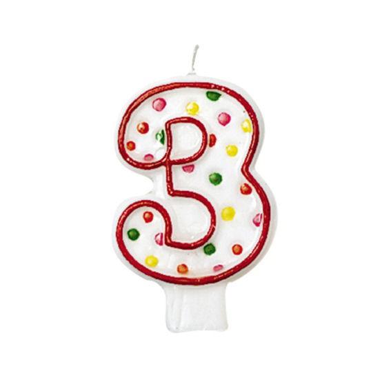'3 - Polka Dots' Party-Zahlen-Kerze