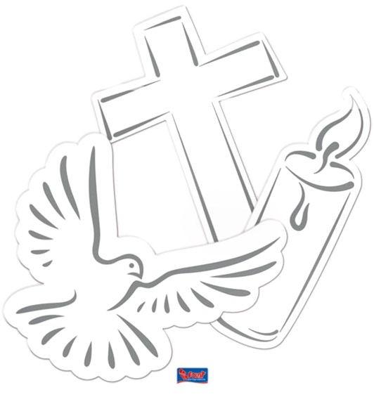 'Cross, Candle & Doves' Streuartikel, Papier, 24er-Pack., weiß mit silb. Druck