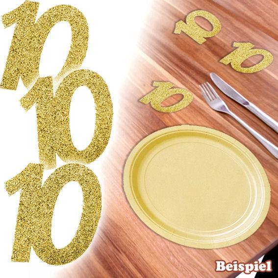 6 Papier-Streuart. 'Zahl 10', glitter-gold, Maß: ca. 50 mm