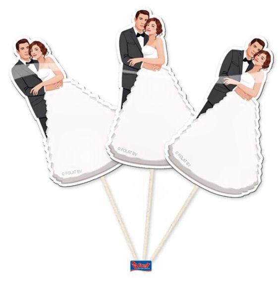 Cupcake-Topper / Picks 'Brautpaar' 10er-Pack. Papierartikel auf Holzstäbchen
