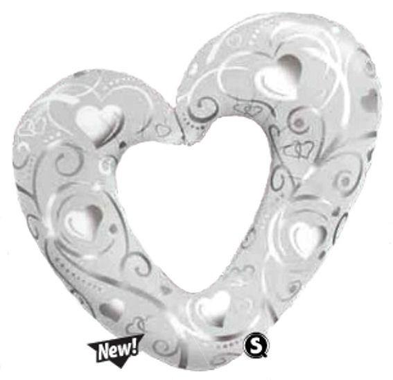 Folienballon-Stecker 'Hearts and Filigree' weiß, offen mit Ausschnitt