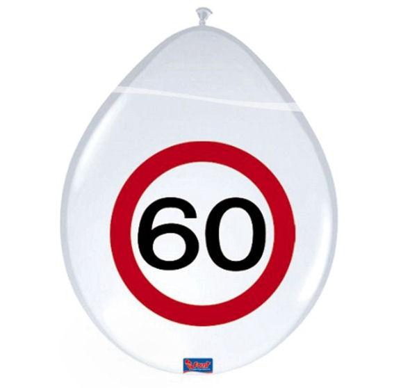 'Verkehrszeichen 60' - Luftballons, ca. 30 cm Ø, weiß, 1-S-Druck, im 8er-Pack.