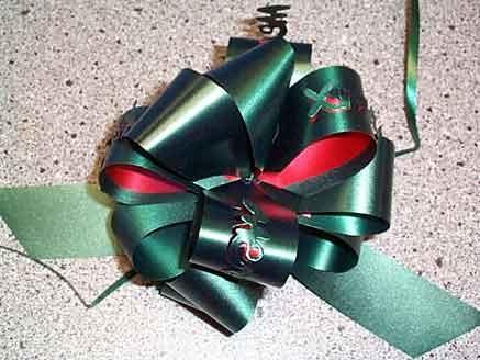 'Tannen-Baum' Weihnachts-Ziehschleife, d.-grün - weiß unterlegt