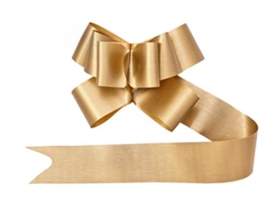 10er-Pack. Ziehschleifen / Fertig-Schleifen, gold, Polyband, 5 x 115 cm