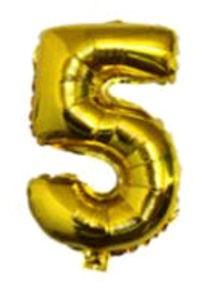 Folien-Zahlenballon (G), gold - XXL - 5, Gas geeignet