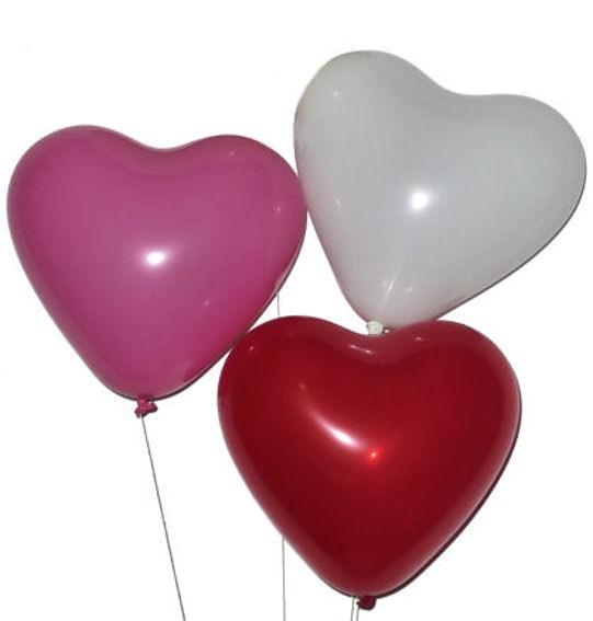 10 Herzballon, mittelgroß, rot-pink-weiß, ca. 25 cm Ø, ca. 60 cm Umfang,