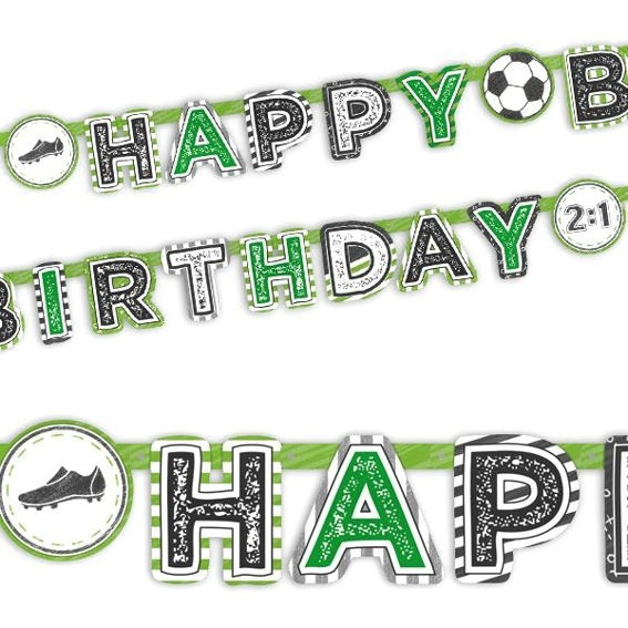 Fussball Banner 'Happy Birthday' Maße: ca. 2,02 m x 15 cm
