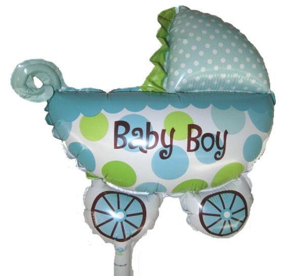 Mini-Folien-LUFTballon 'Kinderwagen - Baby Boy' mit Ventil
