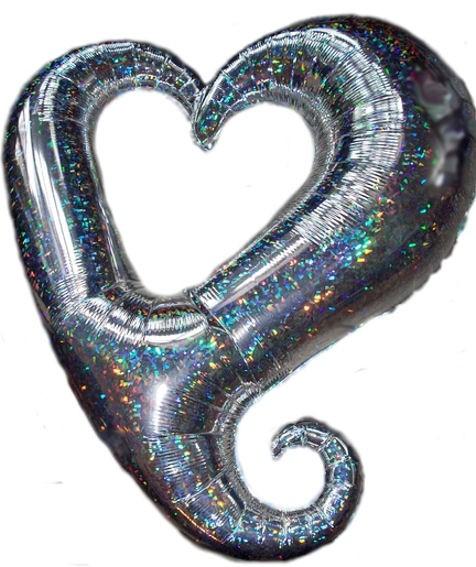 FolienballonShape (F) 'Swirling Heart', prismatic-silber, ca. 90 cm Ø