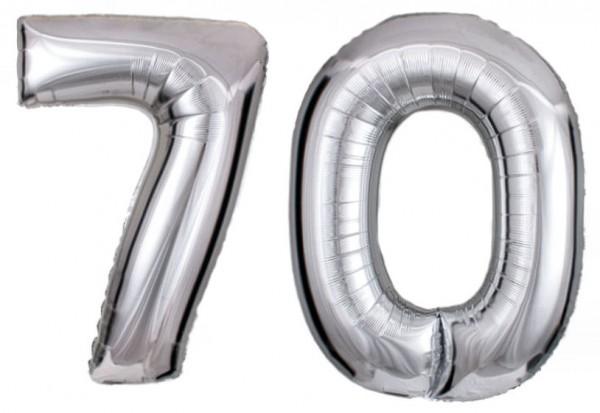 Folien-Zahlenballons (2 x G), silber - XXL - 70, Gas geeignet