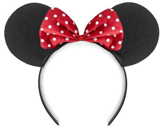 'Mouse' Haarreif mit Ohren und kleiner rot-weißen Tupfen-Schleife