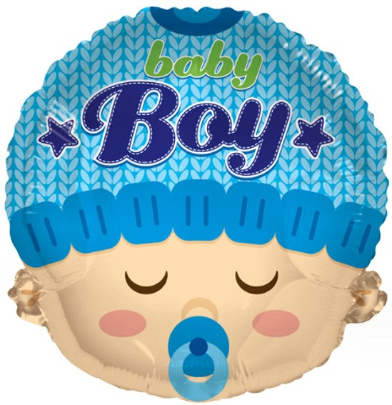 Folienballon 'Baby Boy Head', ca. 46 cm Ø, verschiedene Ausführungen