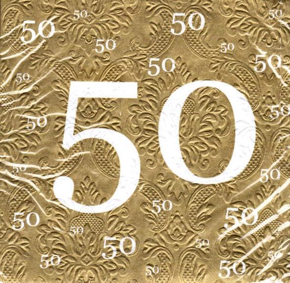 Servietten mit Zahlen-Motiv '50', 20er-Pack., gold