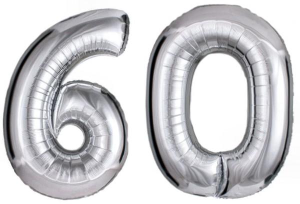 Folien-Zahlenballons (2 x G), silber - XXL - 60, Gas geeignet