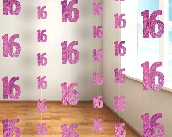 String Decoration '16th Birthday' pink, Hängedeko im 6er-Pack.