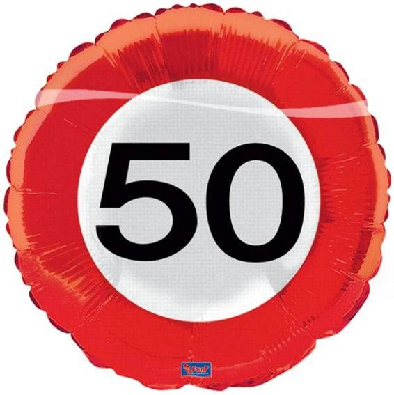 Folien-Rundballon 'Verkehrszeichen 50', ca. 45 cm Ø, verschiedene Ausführungen