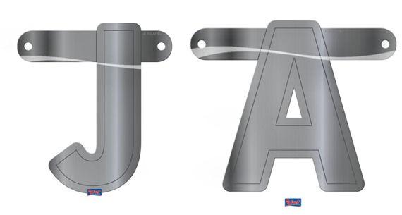 'Buchstaben - JA' 2-tlg. Banner-Letter, silber, Papierartikel