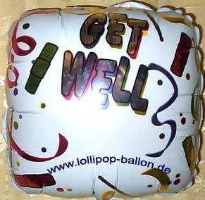 Folien-Quadratballon (A) 'Get Well', ca. 45 cm Ø