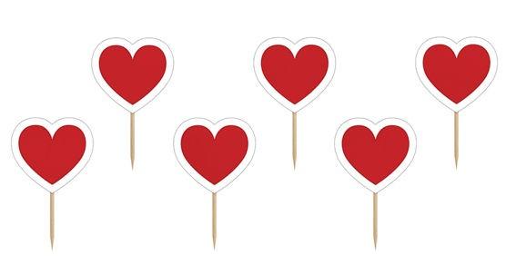 Cupcake-Toppers / Picks 'Heart', 6er-Pack. Papierartikel auf Holzstäbchen