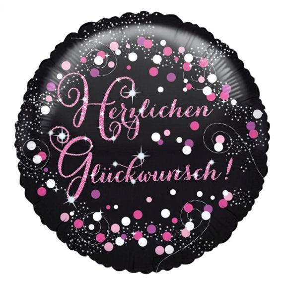 Folien-Rundballon (A) 'Herzl. Glückw. - Pink Celebration' ca. 45 cm