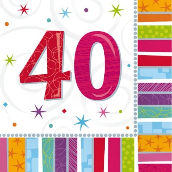 Servietten 'Radiant - Birthday 40th', 16er-Pack., ca. 33 x 33 cm