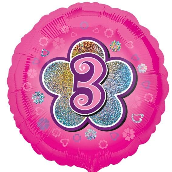 Folien-Rundballon 'Pink Flowers 3', ca. 45 cm Ø, verschiedene Ausführungen