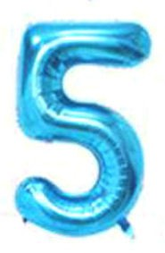 Folien-Zahlenballon (G), blau - XXL - 5, Gas geeignet