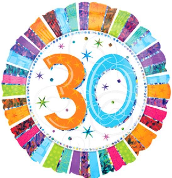 Folien-Rundballon (A) 'Radiant Birthday 30', ca. 45 cm Ø