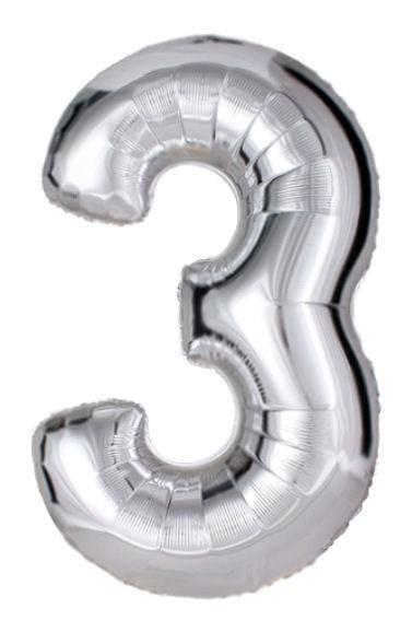"'Zahl 3', silber, Mini-Folienballon mit Ventil ca. 16"" / 40 cm"