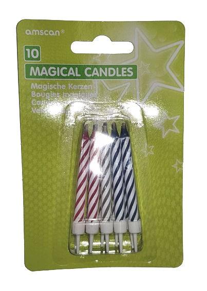 Magische Kerzen mit Halter im Set, bunt-sortiert, 20-tlg.