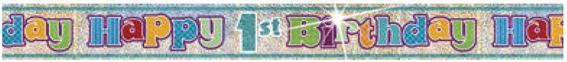 Happy 1st Birthday-Banner, holo, bunt, ca. 365 cm