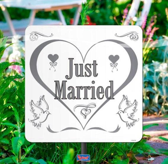 'Just Married' Gartenschild, ca. 26 cm Ø, Kunststoff