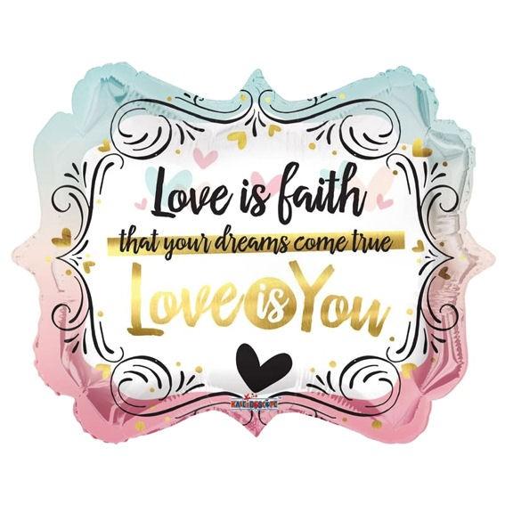 Folienballon Square & Diamond 'Love is You', ca. 46 cm