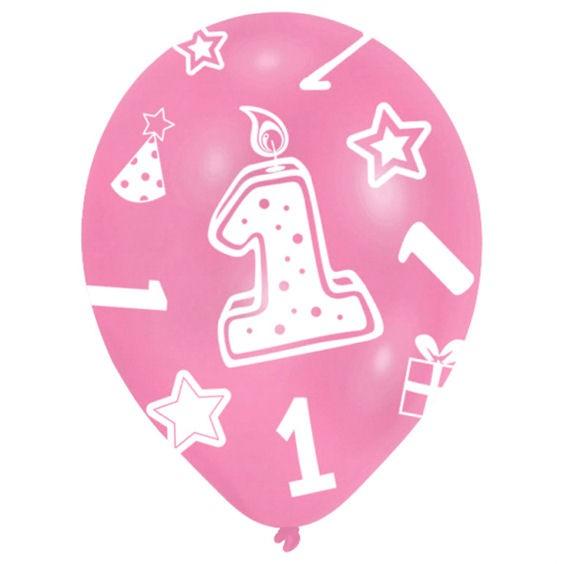 Latex-Rundballon 'Zahl 1', rosatöne, im 6er Pack. mit Global-Druck