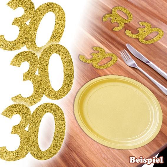 6 Papier-Streuart. 'Zahl 30', glitter-gold, Maß: ca. 50 mm