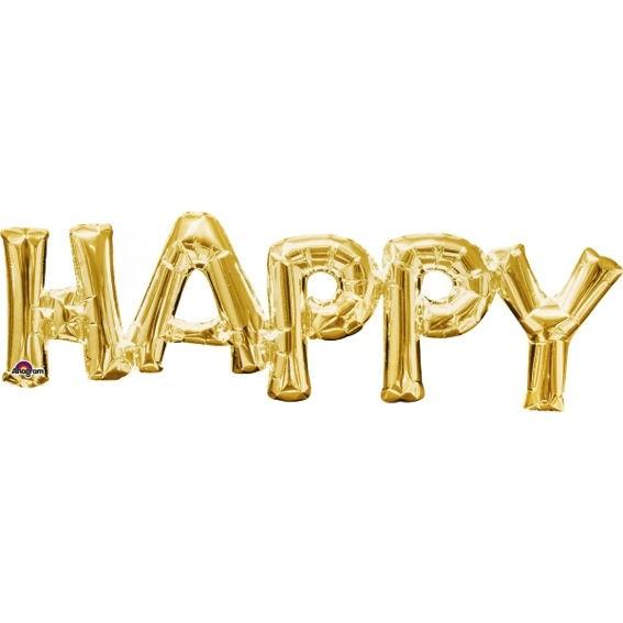 Folien-LUFTballon Schriftzug / Wort 'HAPPY' gold