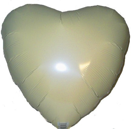 "Folien-Herzballon (A), ca. 18"" / 45 cm Ø, elfenbein/ivory"
