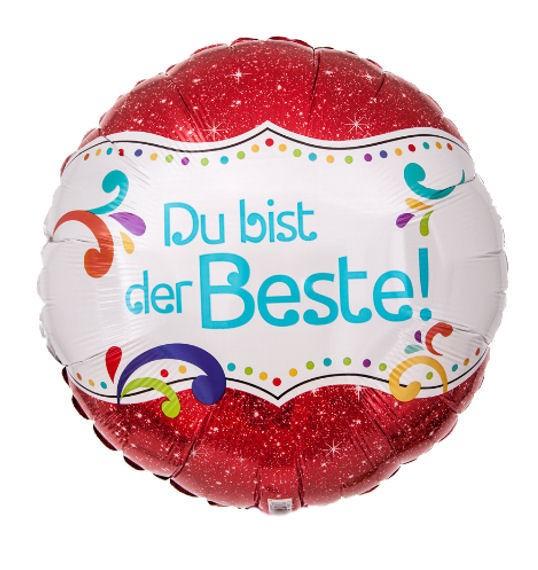 Folien-Rundballon (A) 'Du bist der Beste!', ca. 43 cm